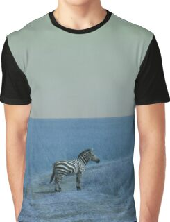 Zebra in Blue Graphic T-Shirt