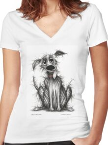 Ugly the dog Women's Fitted V-Neck T-Shirt