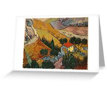 Vincent Van Gogh - Landscape With House And Ploughman 1889 Greeting Card