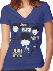 The Fault In Our Stars Collage Women's Fitted V-Neck T-Shirt