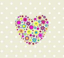 Hearts, Flowers, Petals - Pink Blue Yellow Purple by sitnica