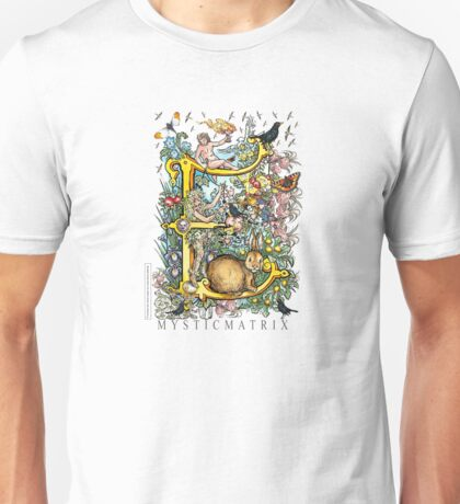 "MYSTICMATRIX The Illustrated Alphabet Capital  E  ""Getting personal""  Unisex T-Shirt"