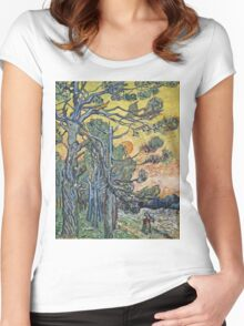 Vincent Van Gogh - Pine Trees Against An Evening Sky, 1889 Women's Fitted Scoop T-Shirt