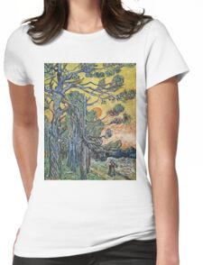Vincent Van Gogh - Pine Trees Against An Evening Sky, 1889 Womens Fitted T-Shirt