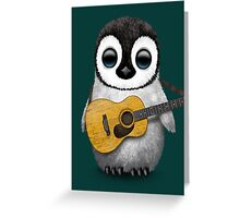 Musical Baby Penguin Playing Guitar Teal Blue Greeting Card