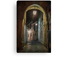Spanish village street at Night. Cordoba Canvas Print