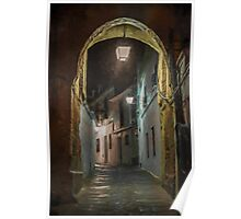 Spanish village street at Night. Cordoba Poster