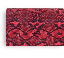 Red Faux Leather Snakeskin Canvas Print