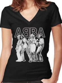 Wonderful ABBA LIVE exclusive design (Australia 77') Women's Fitted V-Neck T-Shirt