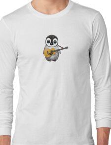 Musical Baby Penguin Playing Guitar Pink Long Sleeve T-Shirt