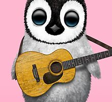 Musical Baby Penguin Playing Guitar Pink by Jeff Bartels