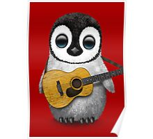 Musical Baby Penguin Playing Guitar Red Poster