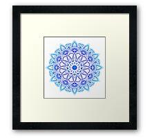 Blues Watercolor Mandala Framed Print