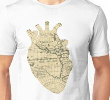 Old School Map heart  Unisex T-Shirt