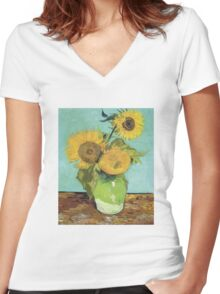 Vincent Van Gogh - Sunflowers, 1888 Women's Fitted V-Neck T-Shirt