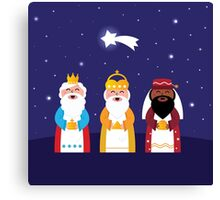 Caspar, Melchior and Balthazar follow the star of Bethlehem. Vector Illustration Canvas Print