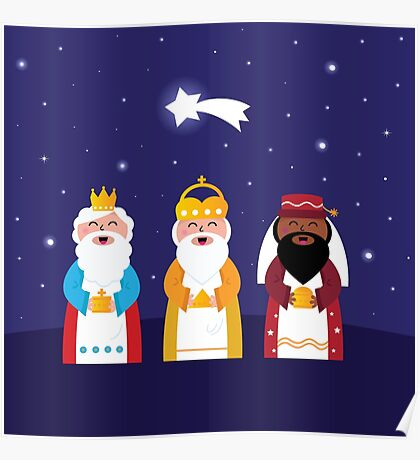 Caspar, Melchior and Balthazar follow the star of Bethlehem. Vector Illustration Poster