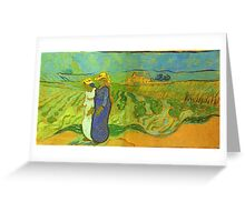 Vincent Van Gogh - Two Women Crossing  Fields, 1890 Greeting Card