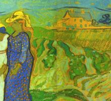 Vincent Van Gogh - Two Women Crossing  Fields, 1890 Sticker