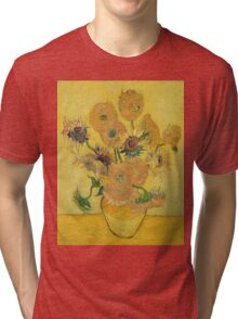 Vincent Van Gogh - Vase With Fifteen Sunflowers, 1889 Tri-blend T-Shirt