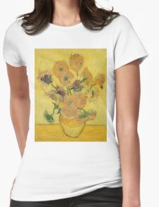 Vincent Van Gogh - Vase With Fifteen Sunflowers, 1889 Womens Fitted T-Shirt