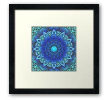 Blues  Watercolor Flower Mandala Framed Print