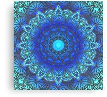 Blues  Watercolor Flower Mandala Canvas Print