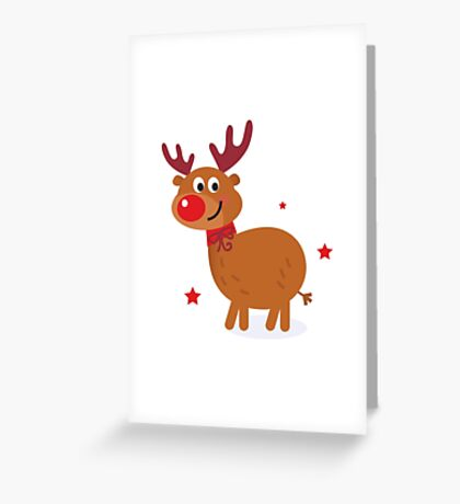 Christmas red nose reindeer Greeting Card