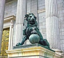 Madrid - Lion statue at Congress by Michelle Falcony