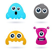 Cute monster or germs characters collection Photographic Print