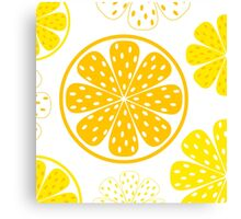 Light and fresh yellow lemon pattern or texture Canvas Print