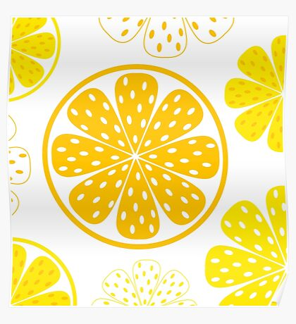 Light and fresh yellow lemon pattern or texture Poster