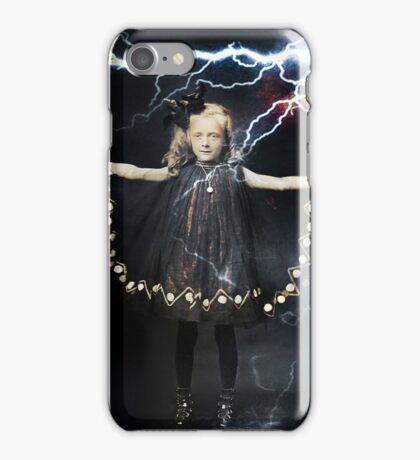 girl arms out lightning strike  iPhone Case/Skin