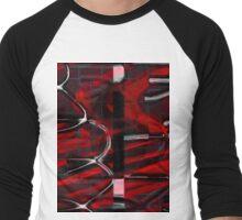 Red pattern Men's Baseball ¾ T-Shirt