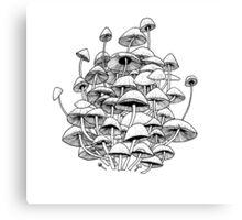 white mushrooms Canvas Print