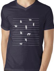 Sloth Stripe Mens V-Neck T-Shirt