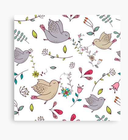 Sweet little birds in flight with bright colourful flowers and leaves, a fun pretty repeating illustration on white, classic statement fashion clothing, soft furnishings and home decor  Canvas Print