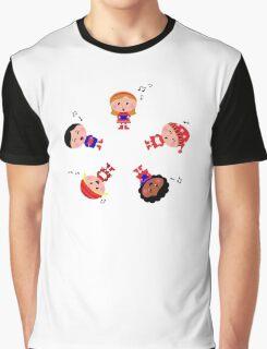 Cute christmas kids singing and caroling Graphic T-Shirt
