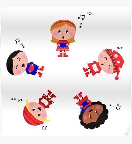 Cute christmas kids singing and caroling Poster