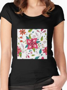Pretty pink flowers pen and ink drawing, cottage style repeating design, white background, classic statement fashion clothing, soft furnishings and home decor  Women's Fitted Scoop T-Shirt