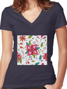 Pretty pink flowers pen and ink drawing, cottage style repeating design, white background, classic statement fashion clothing, soft furnishings and home decor  Women's Fitted V-Neck T-Shirt
