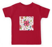 Pretty pink flowers pen and ink drawing, cottage style repeating design, white background, classic statement fashion clothing, soft furnishings and home decor  Kids Tee