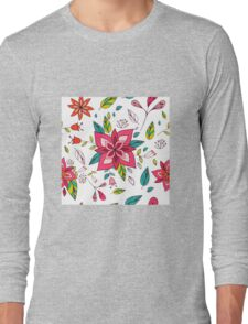 Pretty pink flowers pen and ink drawing, cottage style repeating design, white background, classic statement fashion clothing, soft furnishings and home decor  Long Sleeve T-Shirt