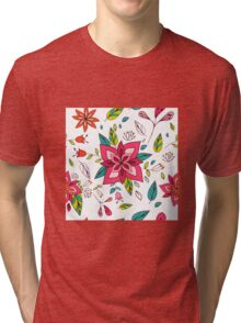 Pretty pink flowers pen and ink drawing, cottage style repeating design, white background, classic statement fashion clothing, soft furnishings and home decor  Tri-blend T-Shirt