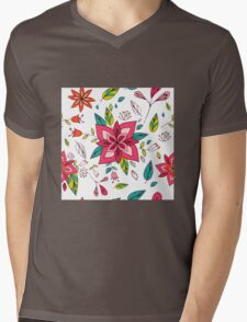 Pretty pink flowers pen and ink drawing, cottage style repeating design, white background, classic statement fashion clothing, soft furnishings and home decor  Mens V-Neck T-Shirt
