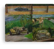 Painting Oldtimers in the nature Canvas Print