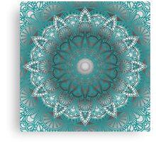 Turquoise Flower Mandala Canvas Print