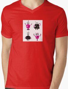 Cute cartoon robot characters Mens V-Neck T-Shirt