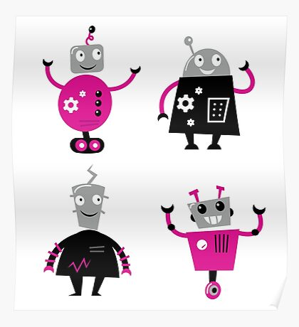 Cute cartoon robot characters Poster