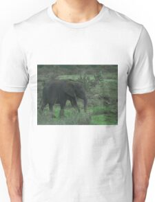 Young Elephant In Green Unisex T-Shirt